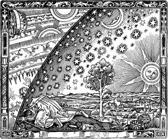 The Flammarion engraving http://en.wikipedia.org/wiki/File:Flammarion.jpg